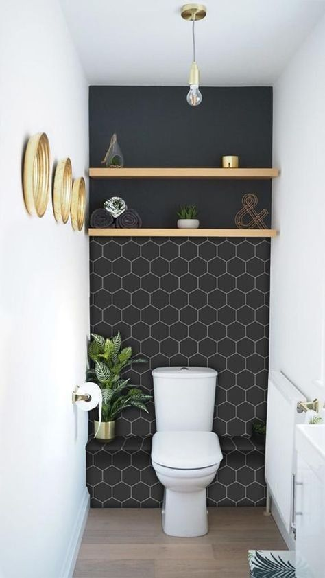 Black Hex Tile Behind Toilet Feature Wall With Shelf Bathroom Splashback Wallpaper Accent Wall Bathroom Modern Bathroom Design
