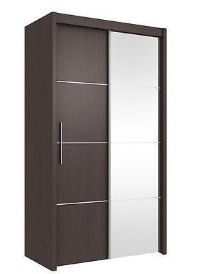 Inova Small Sliding Door Wardrobe Cupboard Espresso Wenge Effect