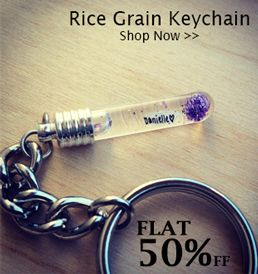 Rice Grain Engraved Keychains   Customized Keychains   Rice