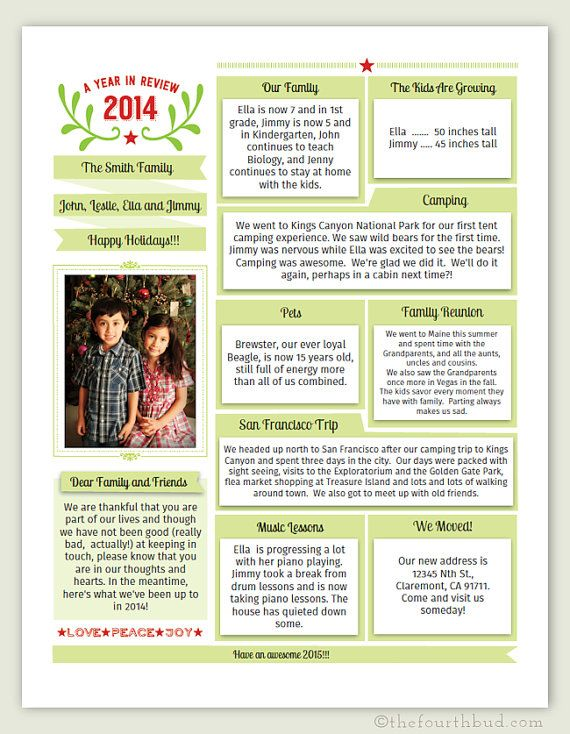 Year In Review Christmas Newsletter Template In PDF For Print - Christmas newsletter template