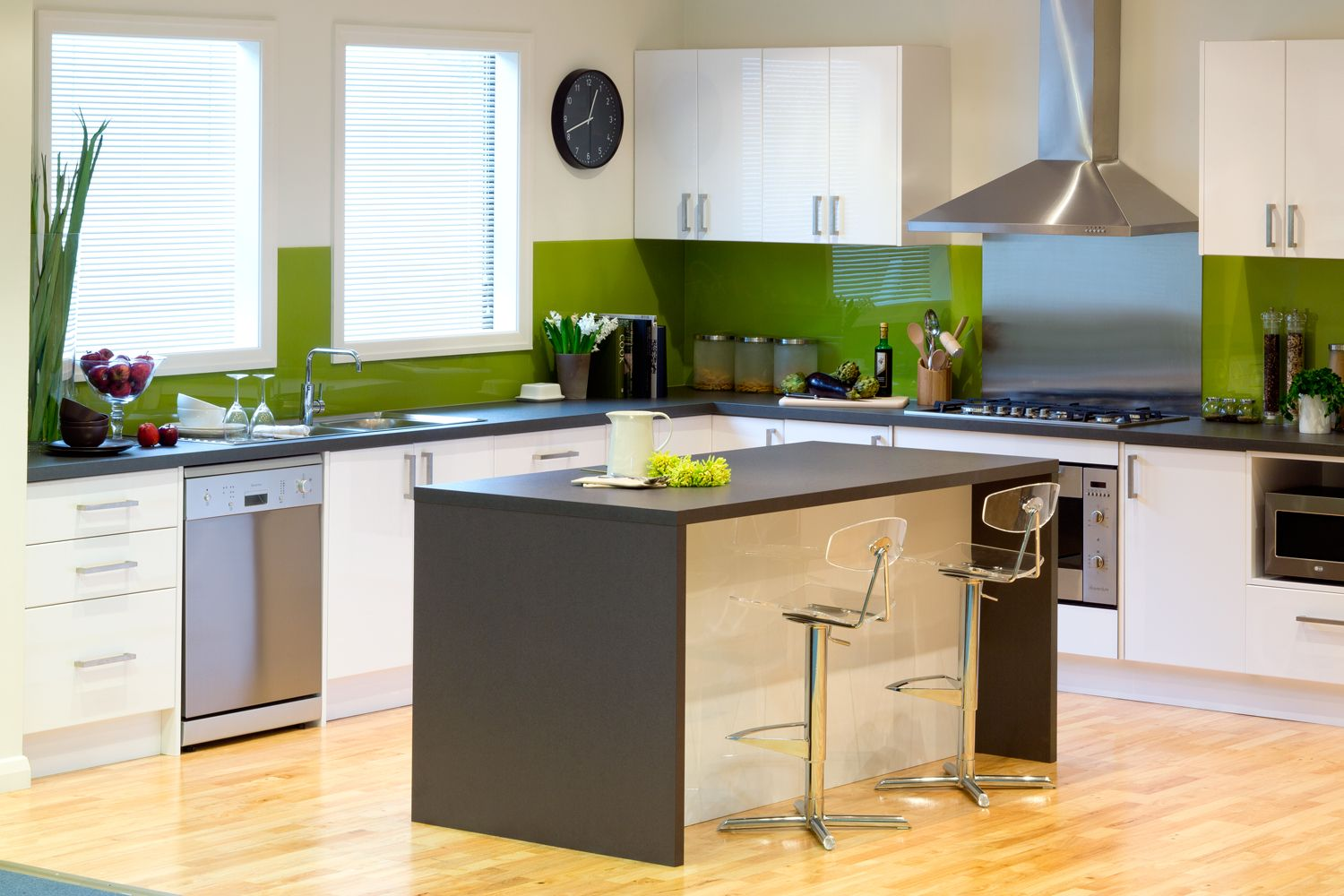 Get the look gloss white cabinets and drawers paired for Kaboodle kitchen designs
