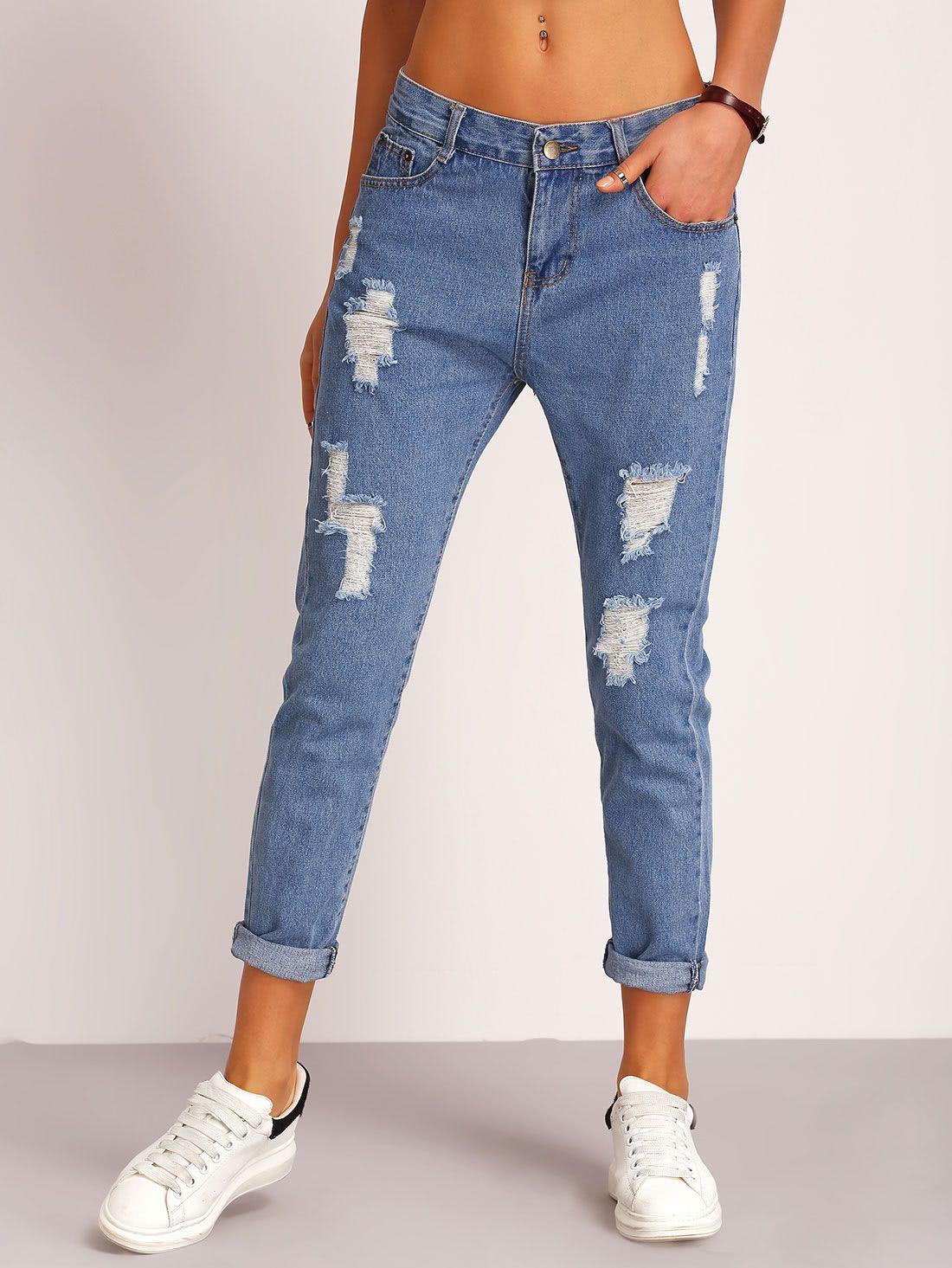 Blue Ripped Denim Pant Pantalones De Mezclilla Mujer Pantalones De Moda Pantalones Jeans De Moda