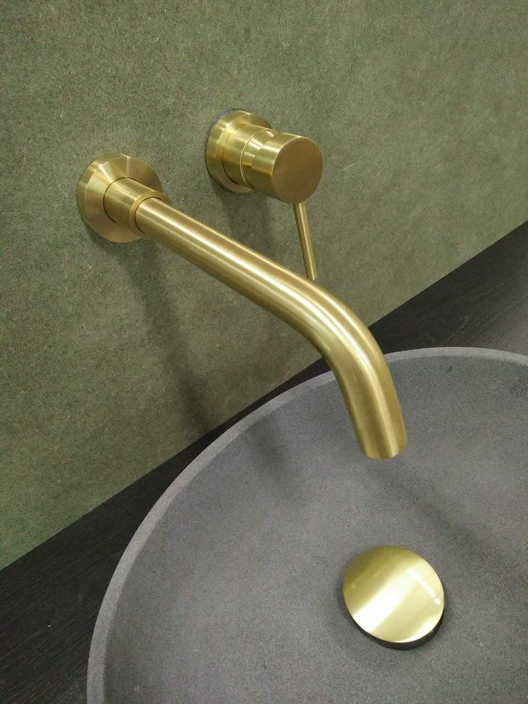 Burnished Brushed Brass Gold Brass wall mixer set tap faucet cUPC ...