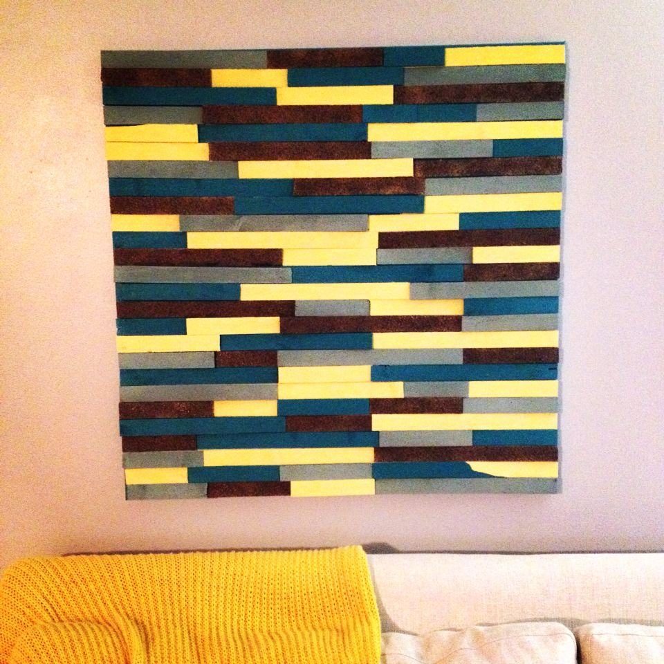 The final product!! Cedar shims diy canvas wall art. | Beachy House ...