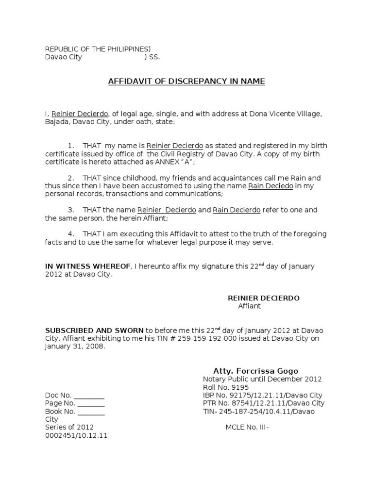 Affidavit Discrepancy Name Photos Personal Change Letter Business