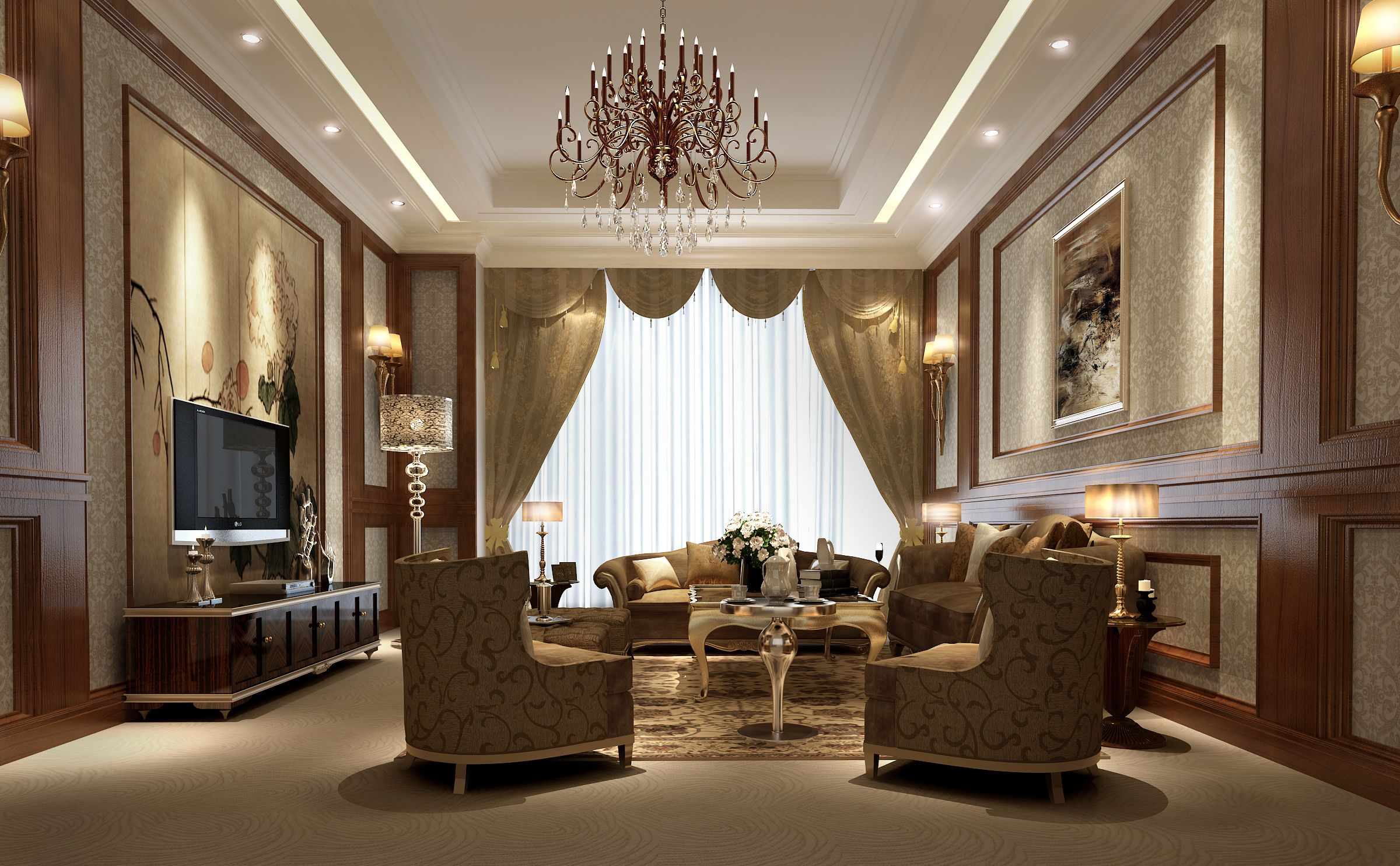 Luxury Living Rooms With Tv luxury living room | 3d model | living rooms, glamour decor and
