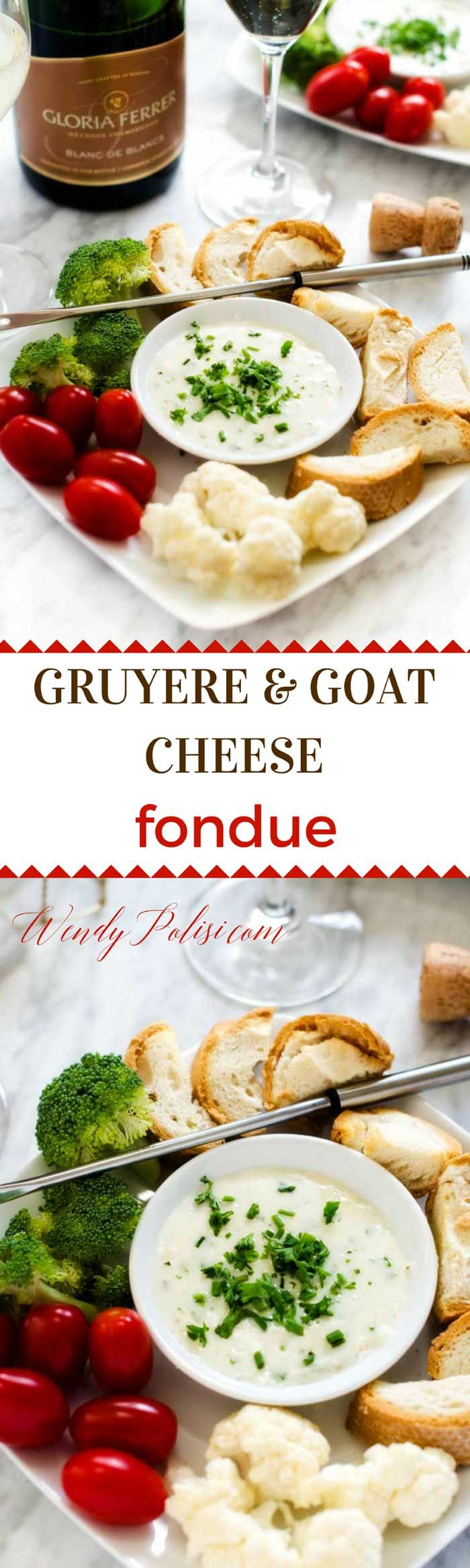 This Goat Cheese & Gruyere Fondue is the perfect easy way to elevate any evening!  #LifeGlorified #CLVR #ad @GloriaFerrer