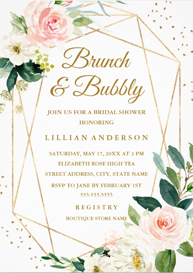 Blush Gold Floral Brunch And Bubbly Bridal Shower Invitation Zazzle Com Bubbly Bridal Shower Floral Bridal Shower Invitations Bridal Brunch Invitations