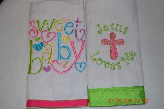 Baby Burp Cloth With Funny Expression Saying: Design From Belle Couture Embrotique