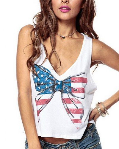 ea8ddd680e605 Bow American flag tank top for girls white backless tops v neck design
