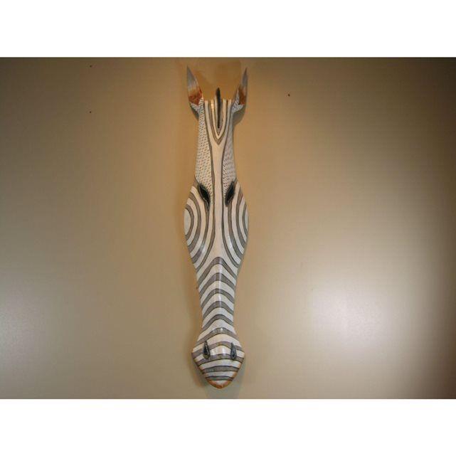 Style africain masque zèbre en bois 100cm Bonareva   La Redoute Soldes