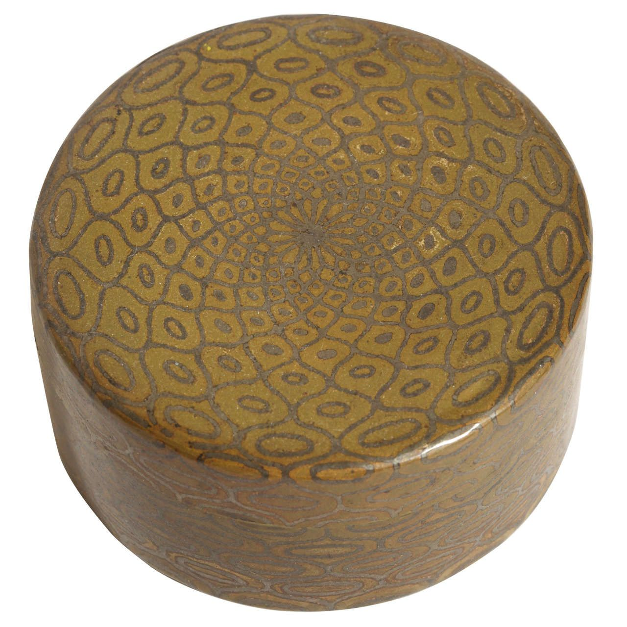 Decorative Round Boxes Jean Dunand French Art Deco Dinanderie Round Box  Decorative