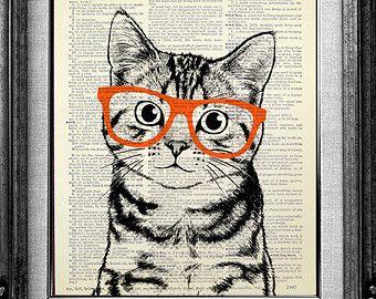DECORATIVE ART, Cat Art Wall Hanging, CAT Print, Cat Poster Art Print, Book Page Art, Nerdy Poster, Cool Cat Artwork, Tabby Cat Nerd Glasses