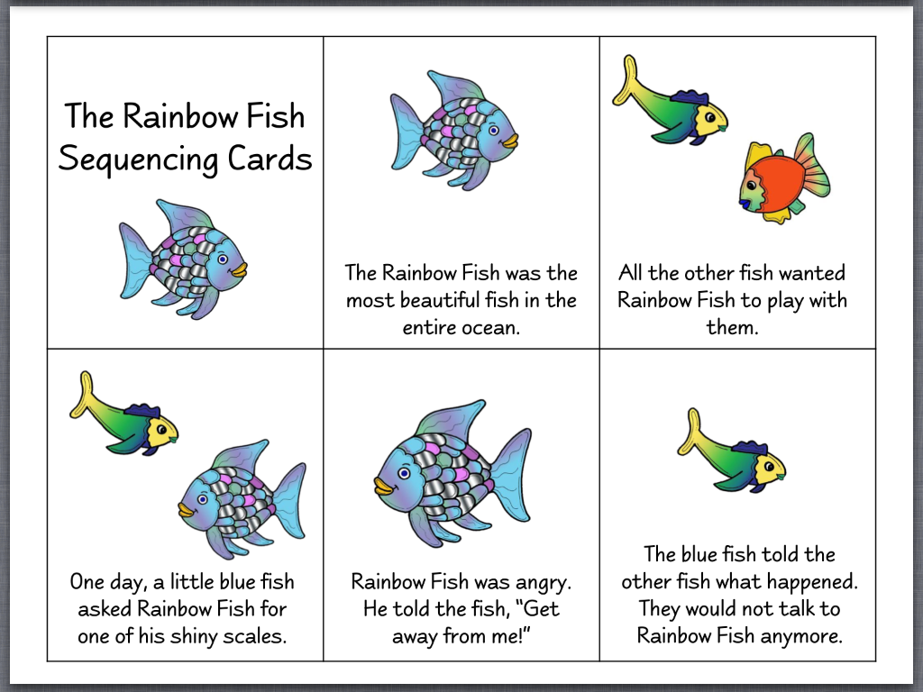 FREE- The Rainbow Fish Story Telling Sequence and Re-telling props ...