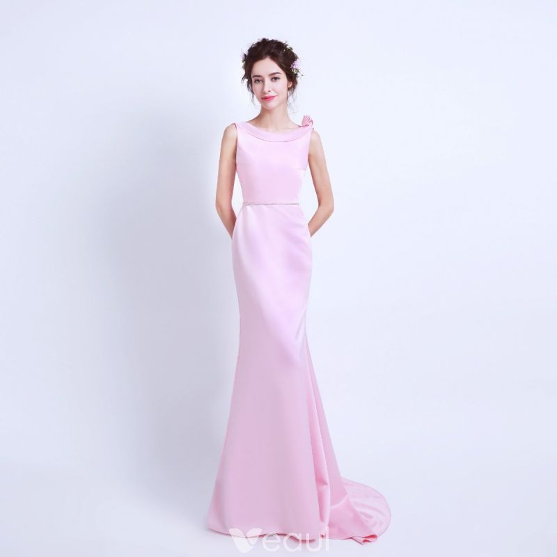 e8844c2f Modest / Simple Candy Pink Evening Dresses 2018 Trumpet / Mermaid ...