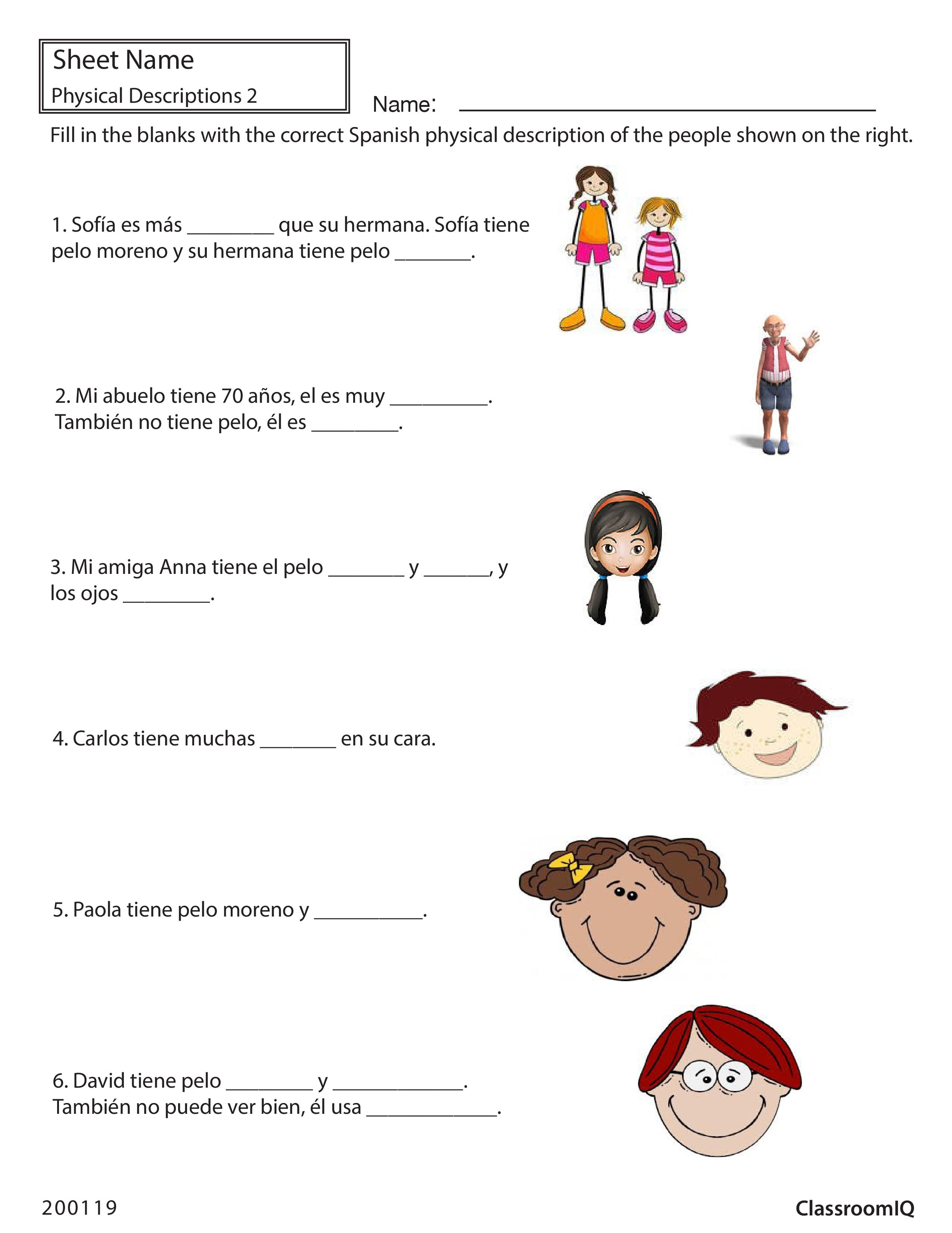 Free Worksheet Beginning Spanish Worksheets spanish classroom objects matching spanishworksheets physical descriptions worksheets learn to make comparisons using muy mas tambien