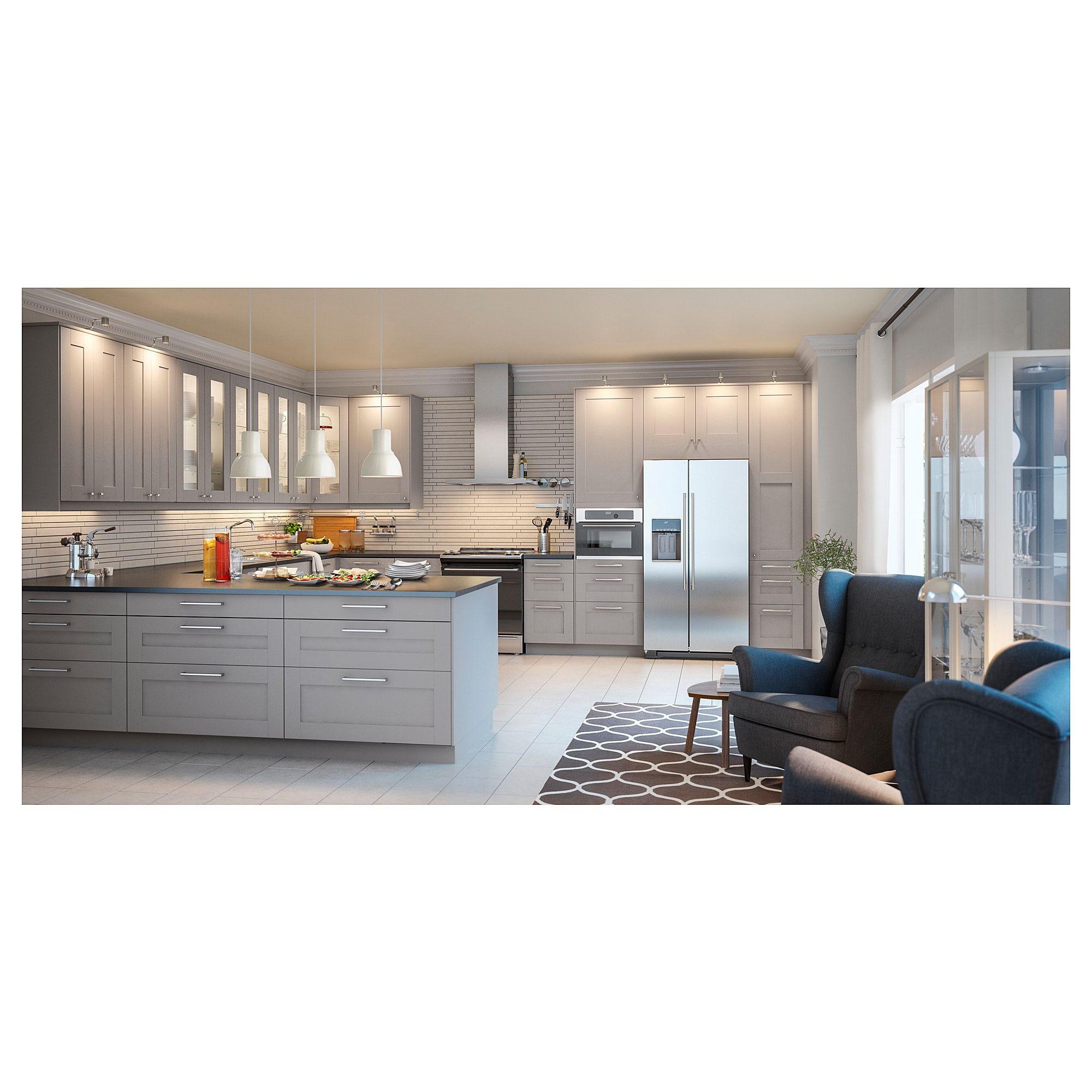 Ikea Grimslov 2 P Door Corner Base Cabinet Set Gray In