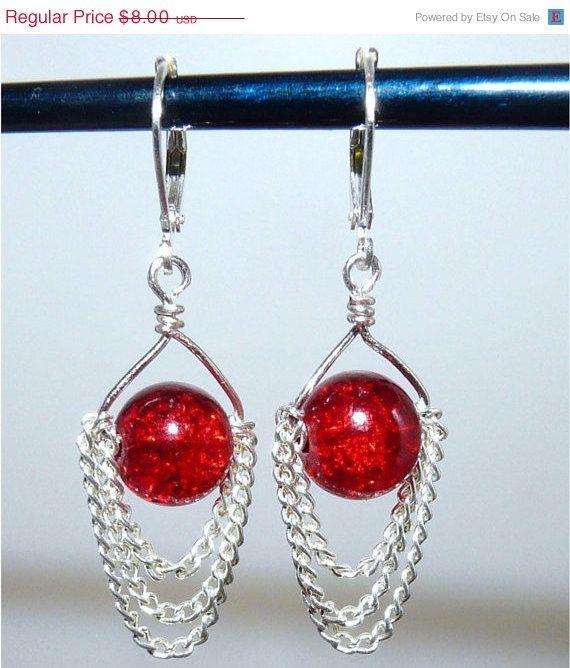 ON SALE Red Drops Chandelier Chain Earrings by missbohemia on Etsy, $7.20