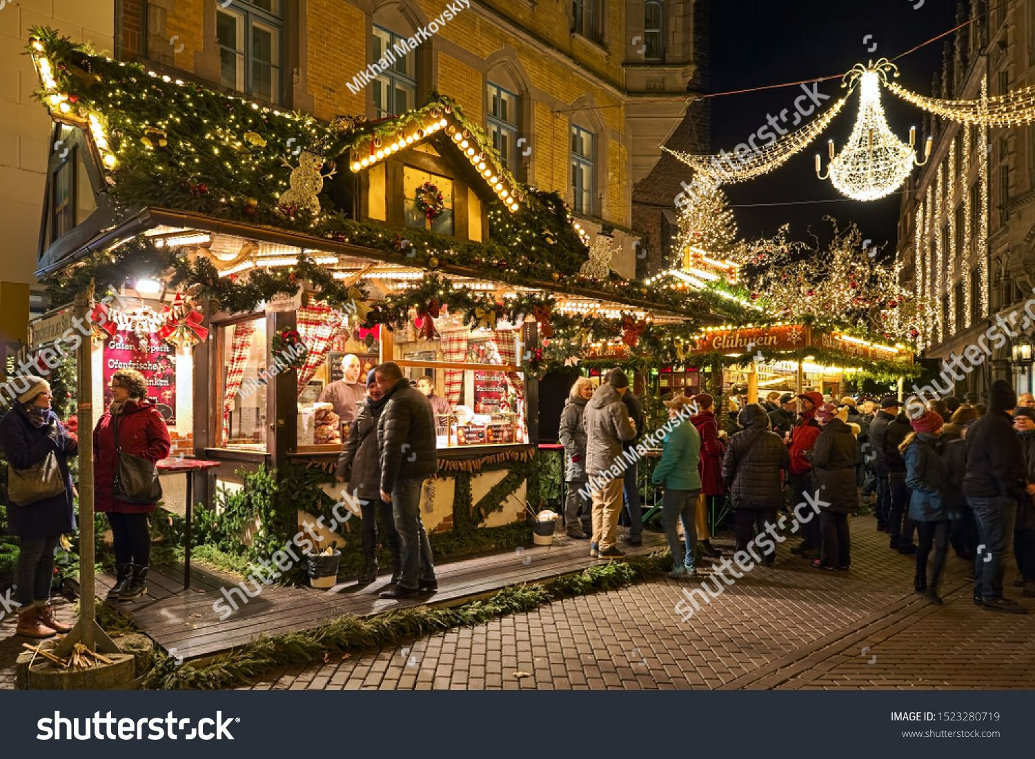 2020 Christmas Marketplace, December 8 HANNOVER, GERMANY DECEMBER 8, 2018: Stalls with food and hot
