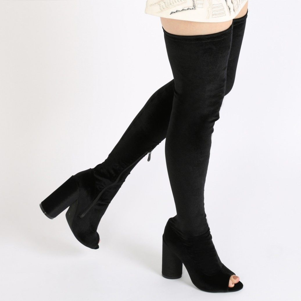 78a26889f37 Jana Over the Knee Peeptoe Boots in Nude Faux Suede