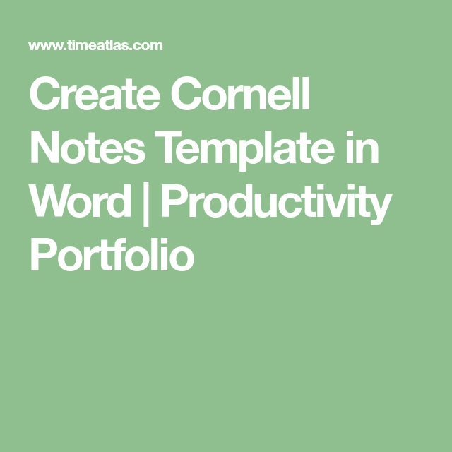 Create Cornell Notes Template In Word  Productivity Portfolio