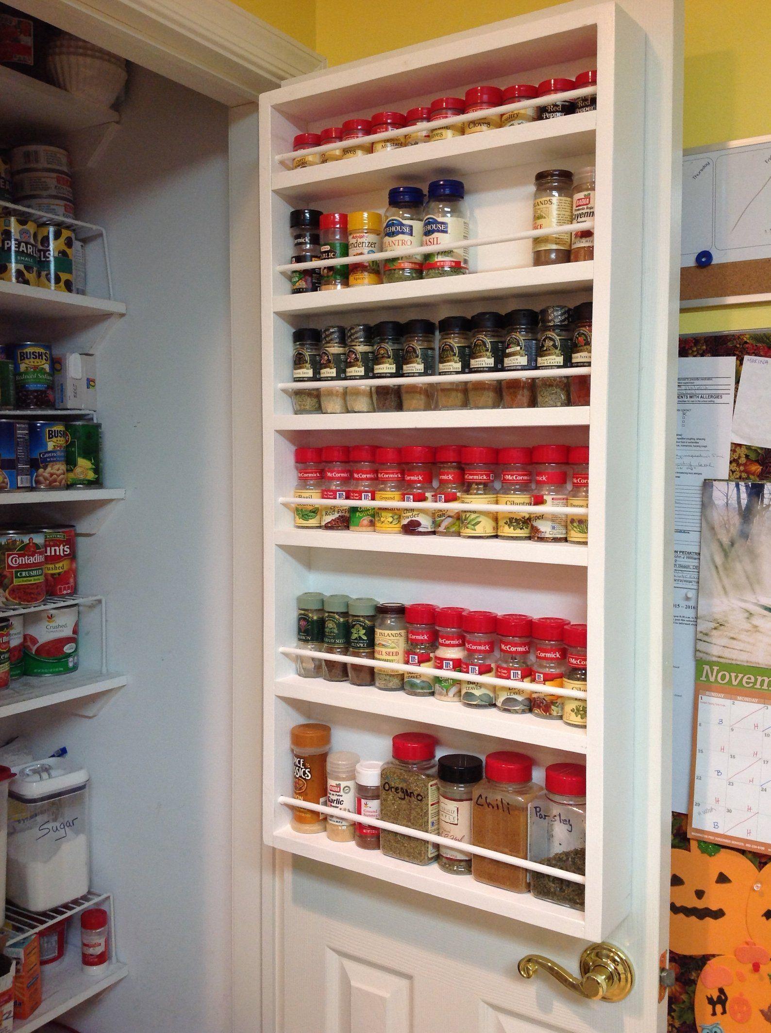 Door mounted white spice rack pantry door closet door  Etsy