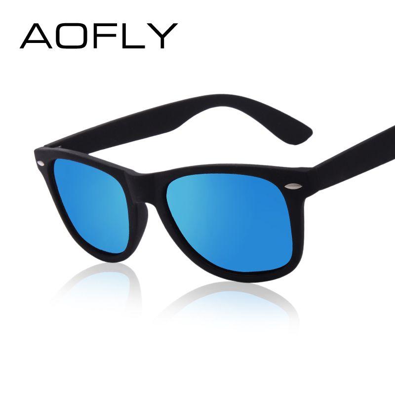 7f8c621c2a60e4 AOFLY Fashion Zonnebril Mannen Gepolariseerde Zonnebril Mannen Rijden  Spiegels Coating Punten Zwart Frame Brillen Mannelijke Zonnebril UV400