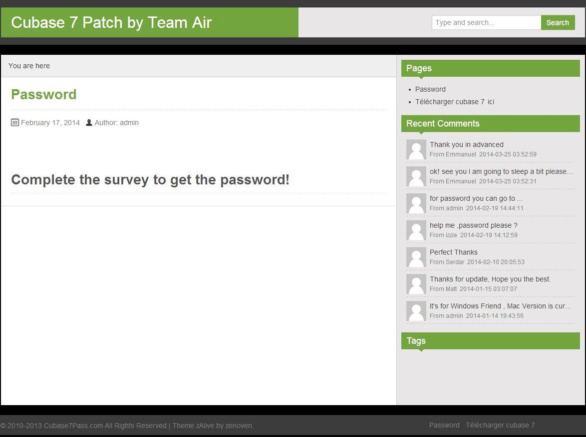 Cubase 7 patch team air password