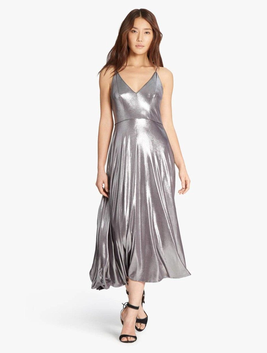 7701f19c2ff466 HALSTON HERITAGE Metallic Jersey Midi Dress - Grey. #halstonheritage #cloth  #all
