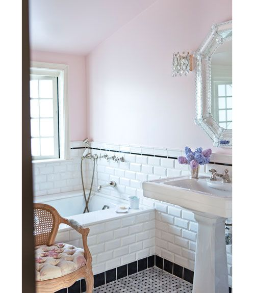 black and white tiles #pink