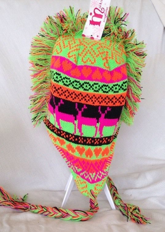 2d6b7fd0d2d90 Mohawk Sweater Toboggan Reindeer Neon Ugly Christmas Winter Knit Beanie   MinkyAccessories  Beanie