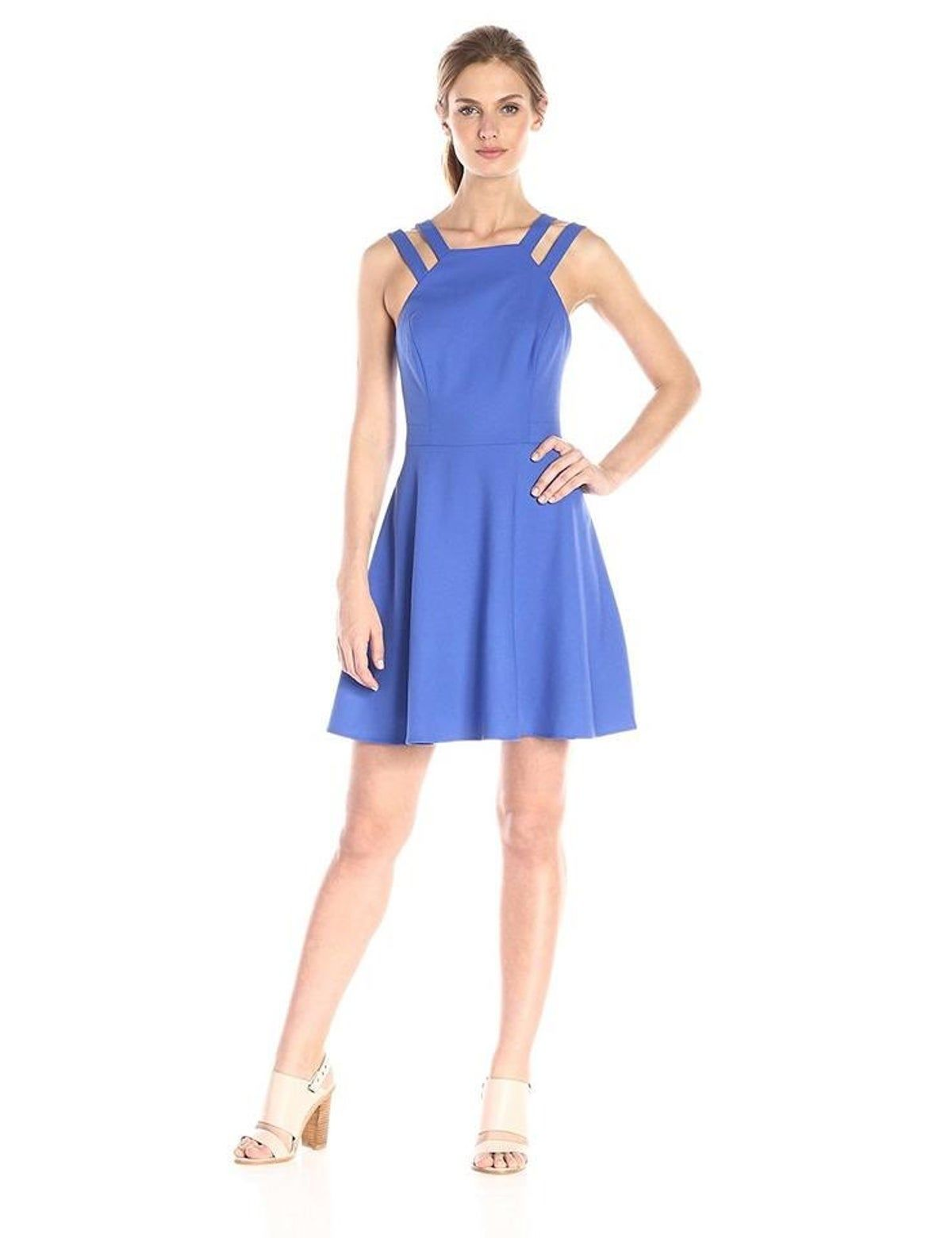 **Frosted Royal Blue Flare Dress**