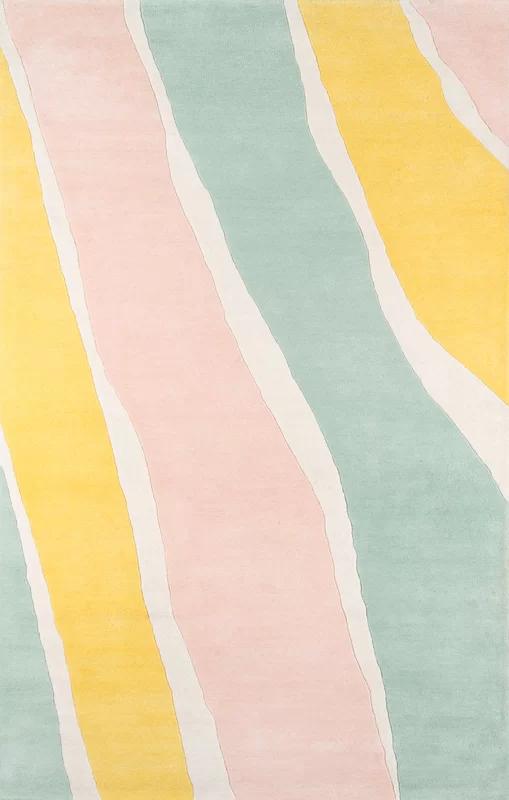 Abstract Handmade Tufted Wool Yellow/Light Green/Light Pink Area Rug