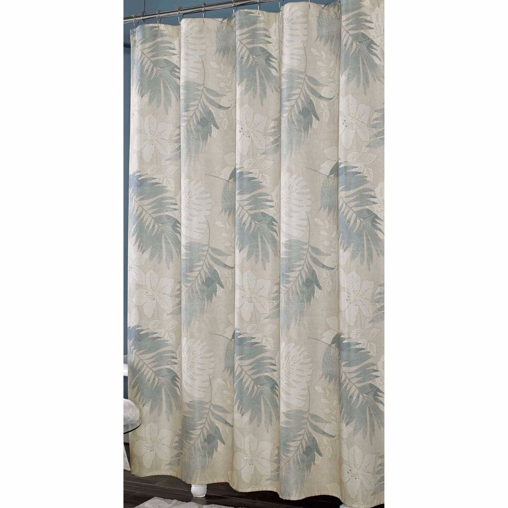 Shower Curtain In Blue Cream White Leaves Palm Tree Motif Textured Bathroom Neqw JQueen Contemporary