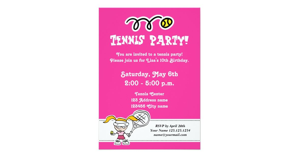 Tennis party invitations for girl\'s Birthday | Party invitations and ...
