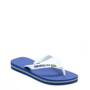 521b55487 Havaianas Kids Marine Blue Brasil Logo Flip Flops