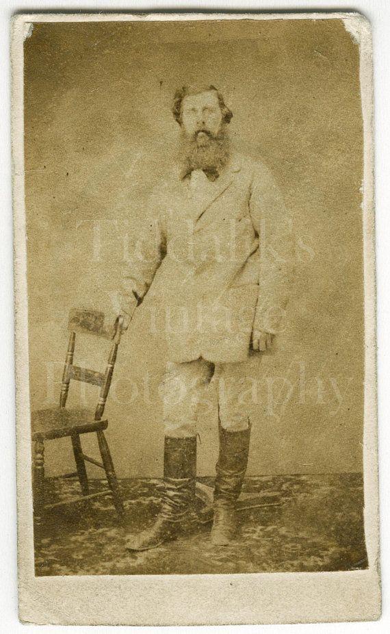 CDV Carte De Visite Photo Victorian Big Bearded Old Man Standing Portrait