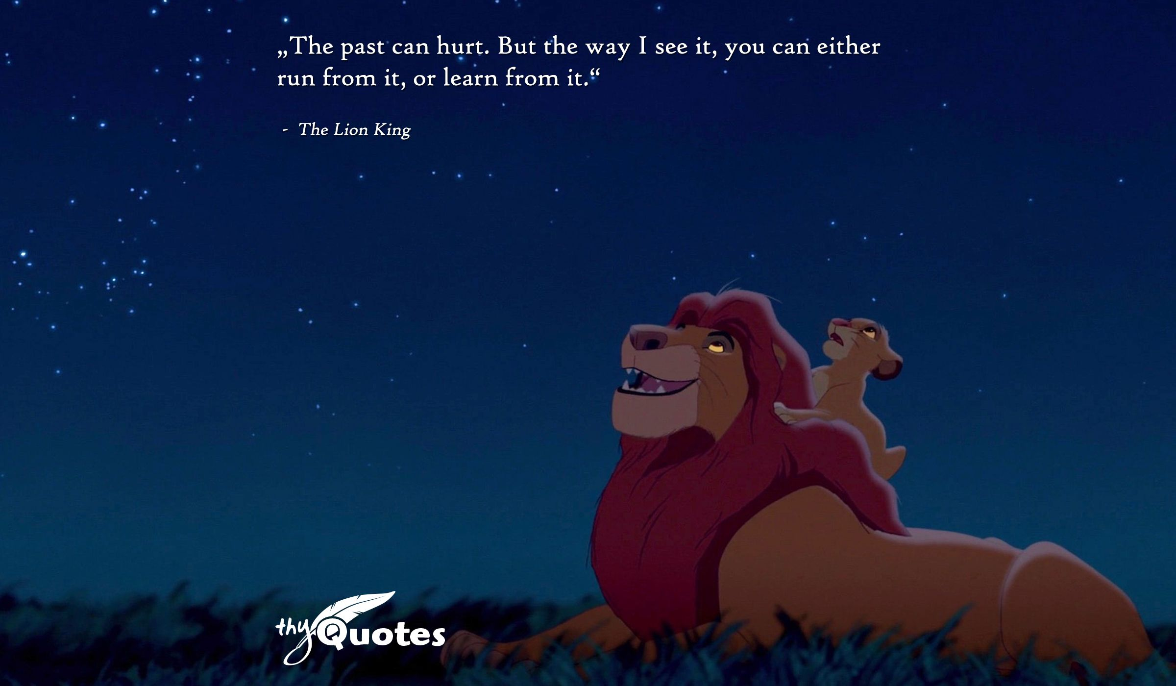 The Past Can Hurt But The Way I See It You Can Either Run From It Or Learn From It The Lion King Lion King Disney Quotes Lion King Quotes