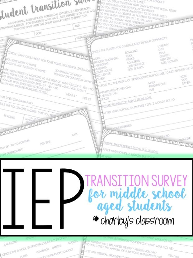 IEP Transition Survey for Students of Transition Age Middle - sample transition plan