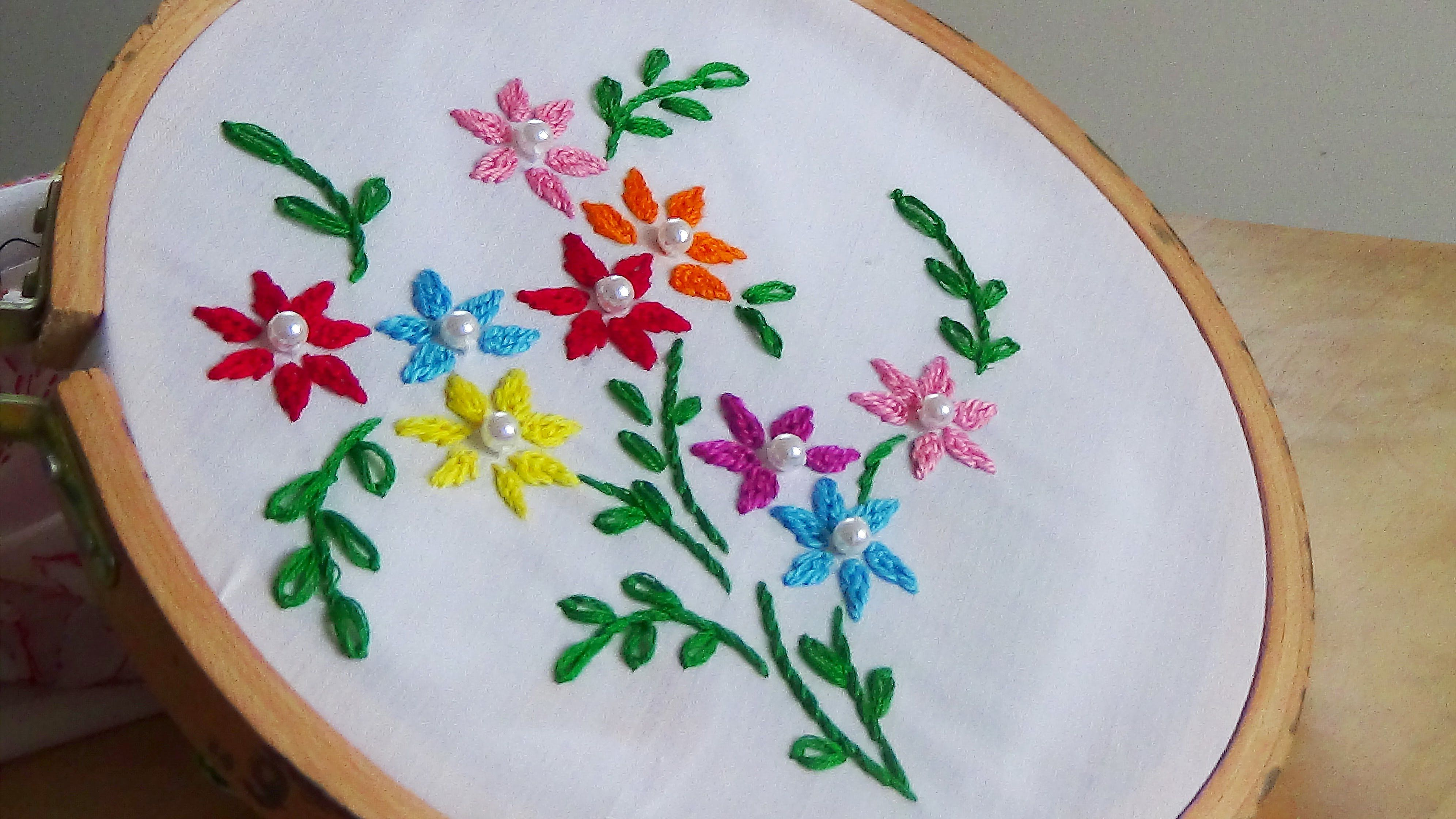 Hand embroidery close fly stitch flowers youtube