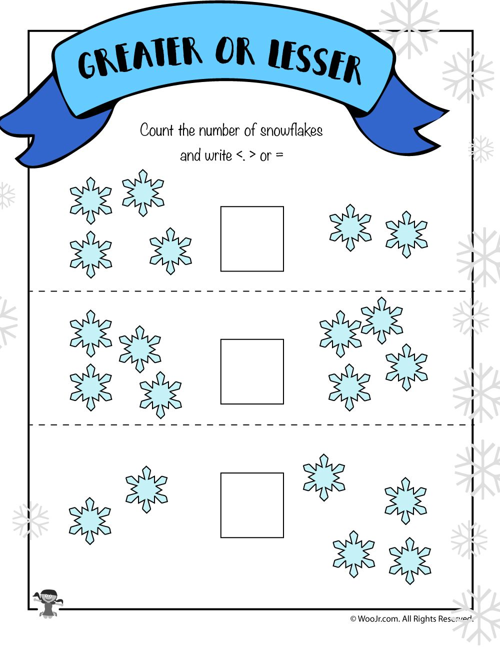Visual Easy Greater Than Less Than Worksheet Winter