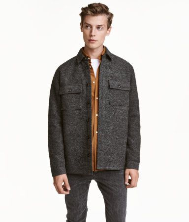 Dark gray. Straight-cut shirt jacket in felted fabric with wool ...