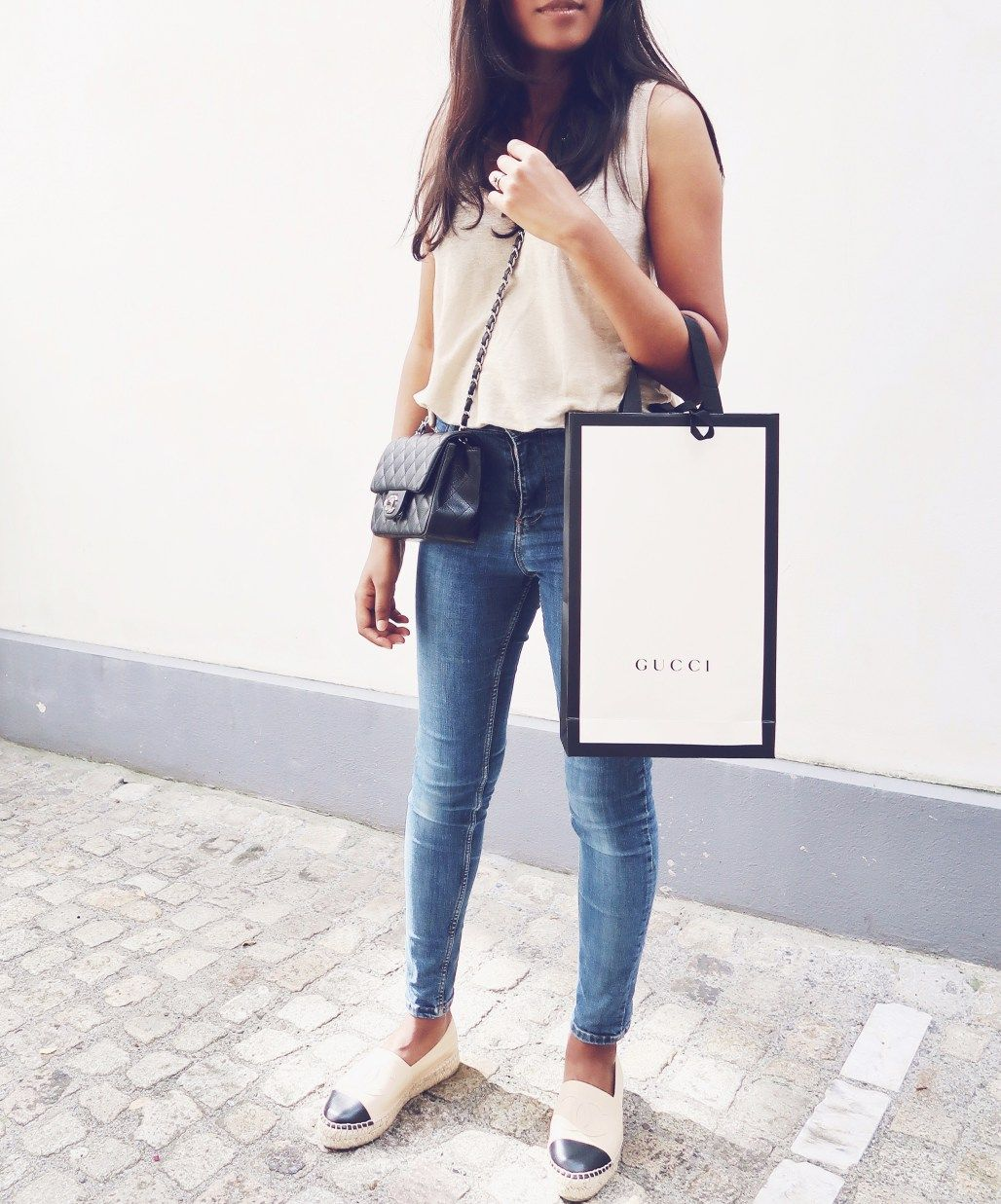 42fd8c70b9a Gucci. Shopping outfit. Chanel espadrilles outfit. Chanel square mini.