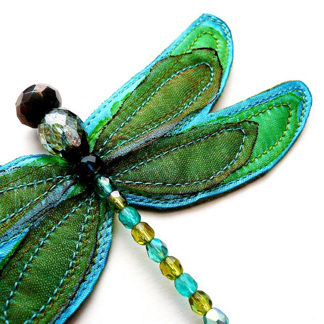 LOVE this fabric and bead dragonfly