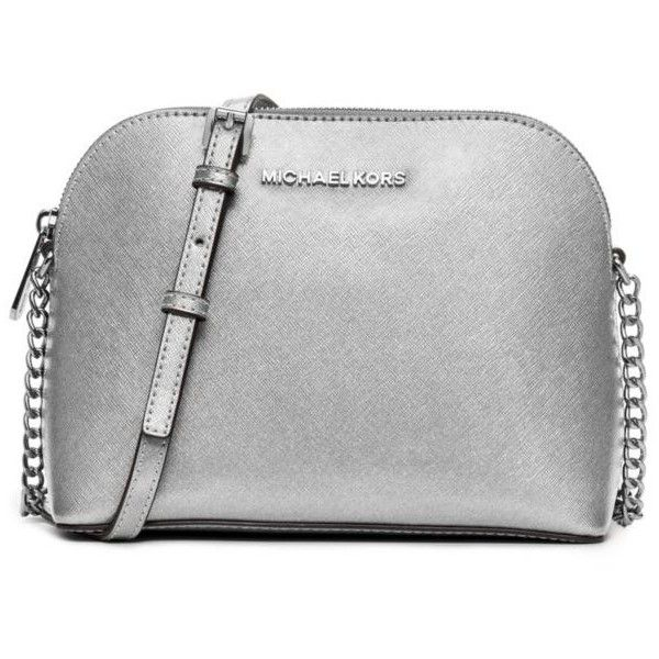Michael Michael Kors Silver Cindy Large Dome Crossbody ($168) ? liked on  Polyvore featuring
