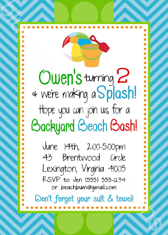 Birthday Beach Bash, Let\'s Make a Splash Kid\'s Party - 5x7 Printable ...