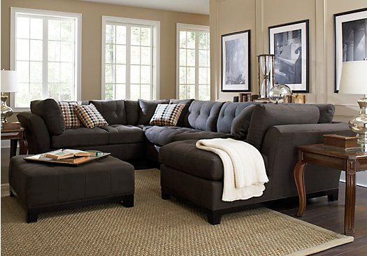 Cindy Crawford Metropolis Slate 3pc Sectional Living Room Sets