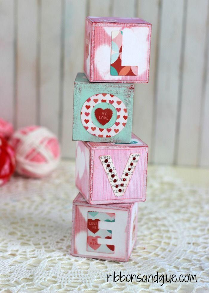 Valentine S Love Blocks Be My Valentine Pinterest Valentinstag