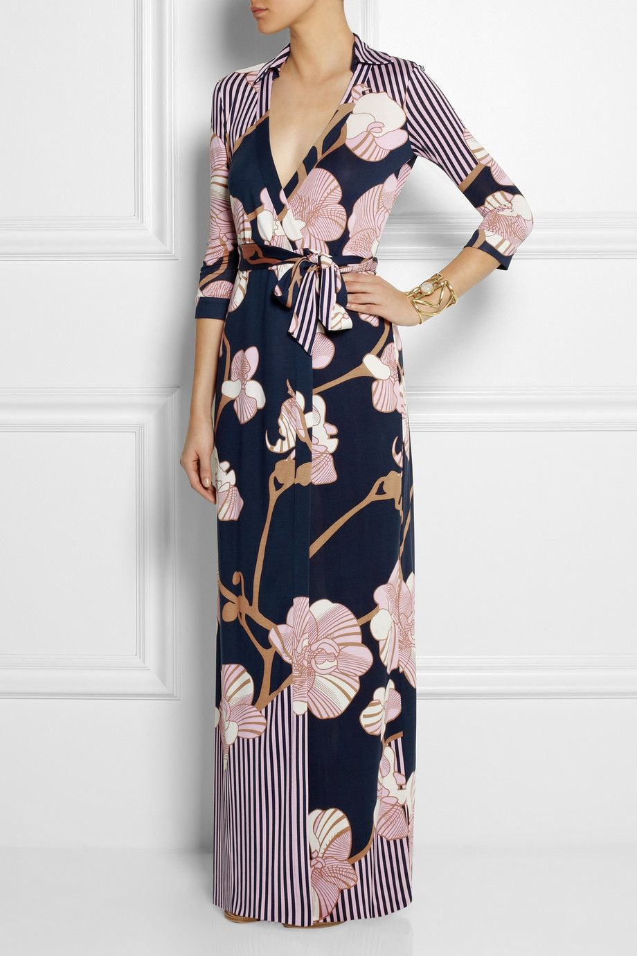 Silk jersey maxi dress