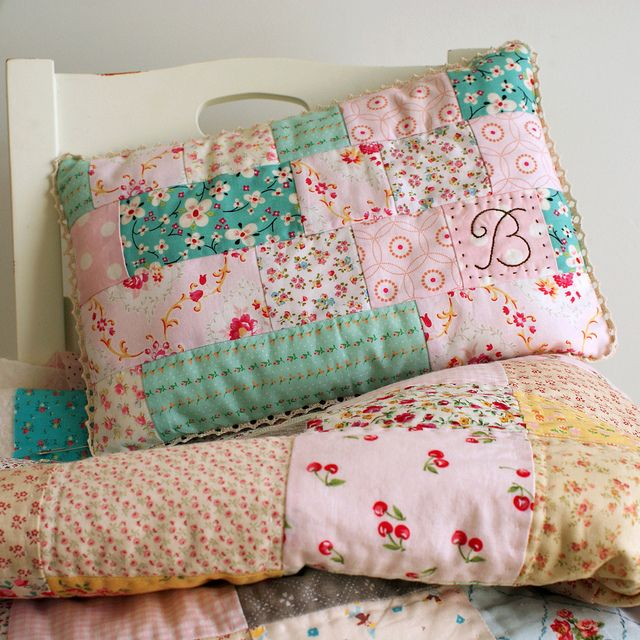 Patchwork pillow! Maybe I will try this as a pillow case instead, then maybe an actual pillow!